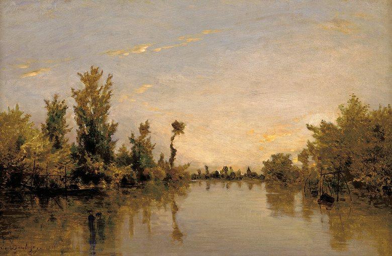 油絵 油彩画 絵画 複製画 シャルル=フランソワ・ドービニー セーヌ川の川岸 M10サイズ M10号 530x333mm すぐに飾れる豪華額縁付きキャンバス