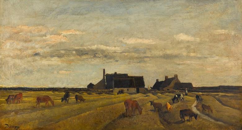 油絵 油彩画 絵画 複製画 シャルル=フランソワ・ドービニー ブルターニュの農場 F10サイズ F10号 530x455mm すぐに飾れる豪華額縁付きキャンバス