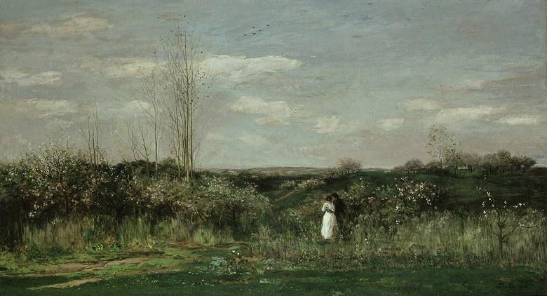 油絵 油彩画 絵画 複製画 シャルル=フランソワ・ドービニー 春の風景 F10サイズ F10号 530x455mm すぐに飾れる豪華額縁付きキャンバス