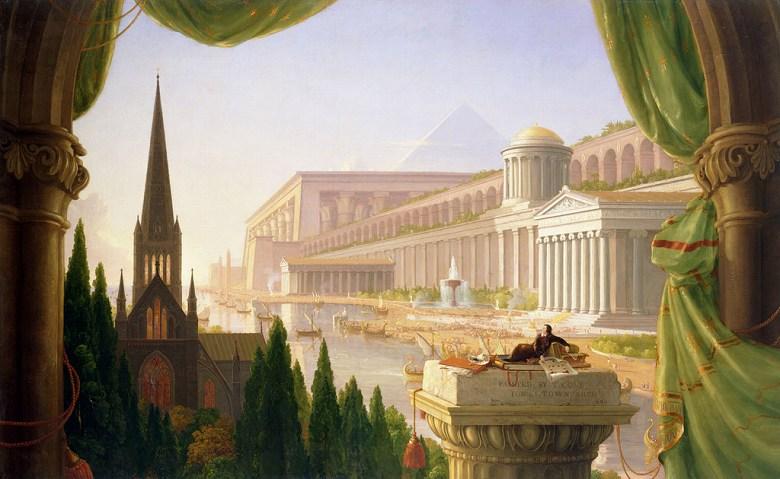 油絵 油彩画 絵画 複製画 トマス・コール 建築家の夢 M10サイズ M10号 530x333mm すぐに飾れる豪華額縁付きキャンバス
