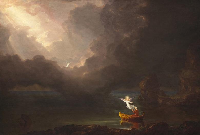 油絵 油彩画 絵画 複製画 トマス・コール 人生の旅路、高齢期 P10サイズ P10号 530x410mm すぐに飾れる豪華額縁付きキャンバス