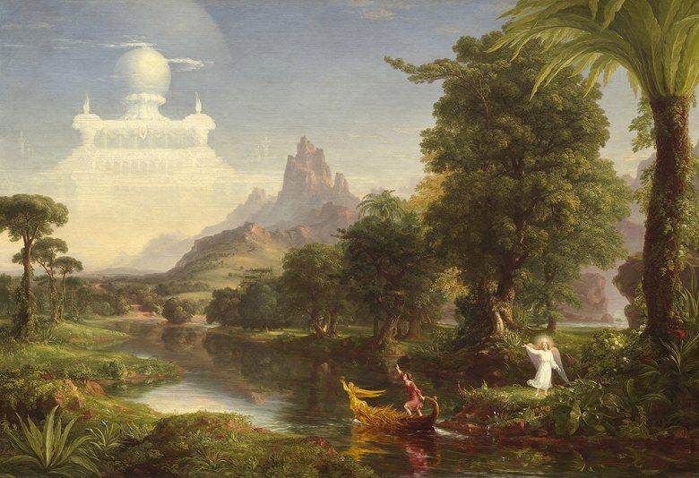 油絵 油彩画 絵画 複製画 トマス・コール 人生の旅路、青年期 P10サイズ P10号 530x410mm すぐに飾れる豪華額縁付きキャンバス