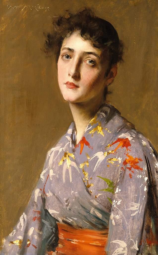 ウィリアム・メリット・チェイス 浴衣を着た女性 M30サイズ M30号 910x606mm 条件付き送料無料 絵画 インテリア 額入り 壁掛け複製油絵ウィリアム・メリット・チェイス