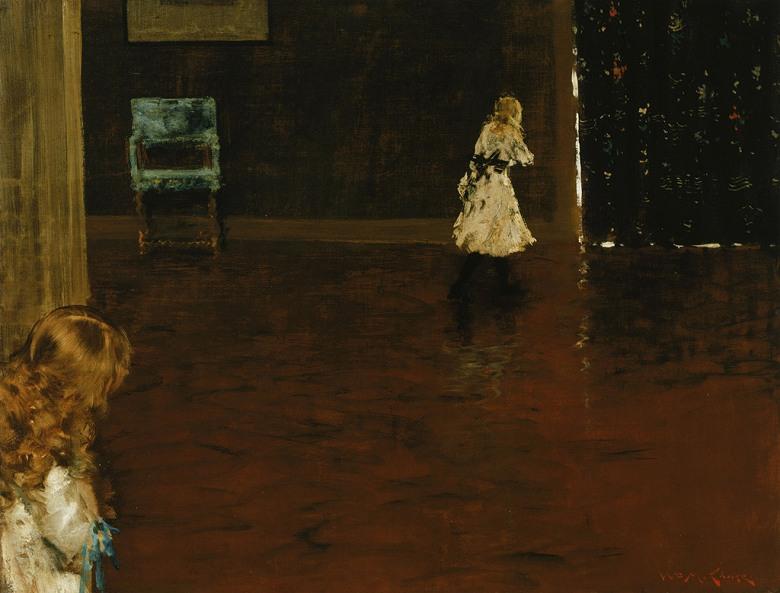 油絵 油彩画 絵画 複製画 ウィリアム・メリット・チェイス かくれんぼ P10サイズ P10号 530x410mm すぐに飾れる豪華額縁付きキャンバス