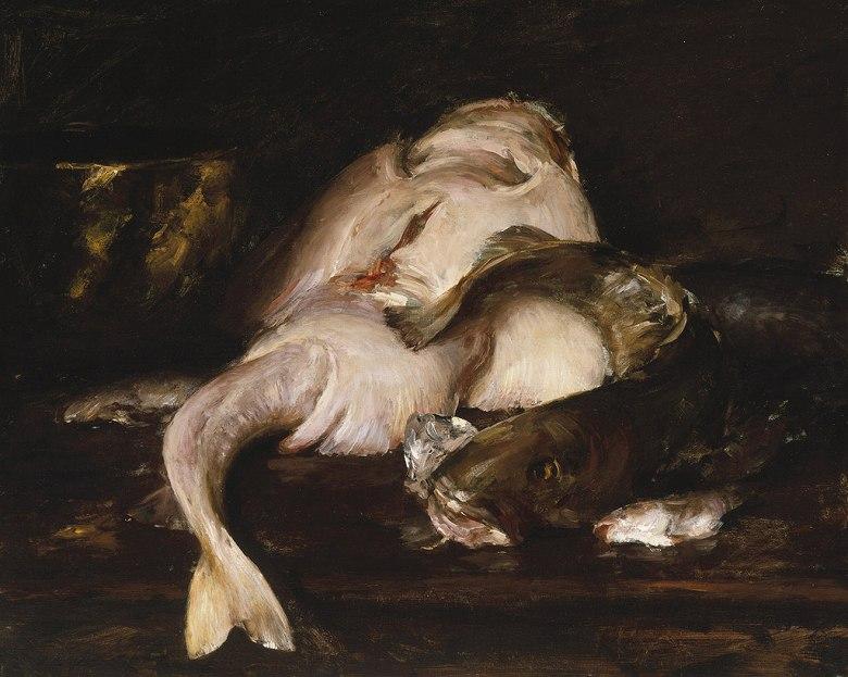 絵画 インテリア 額入り 壁掛け複製油絵ウィリアム・メリット・チェイス 魚のある静物 F20サイズ F20号 727x606mm 絵画 インテリア 額入り 壁掛け 油絵