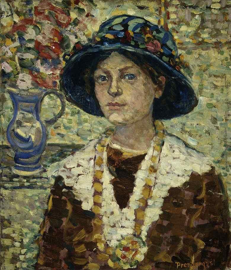 絵画 インテリア 額入り 壁掛け複製油絵 モーリス・プレンダーガスト 花と女性の肖像 F20サイズ F20号 727x606mm 絵画 インテリア 額入り 壁掛け 油絵