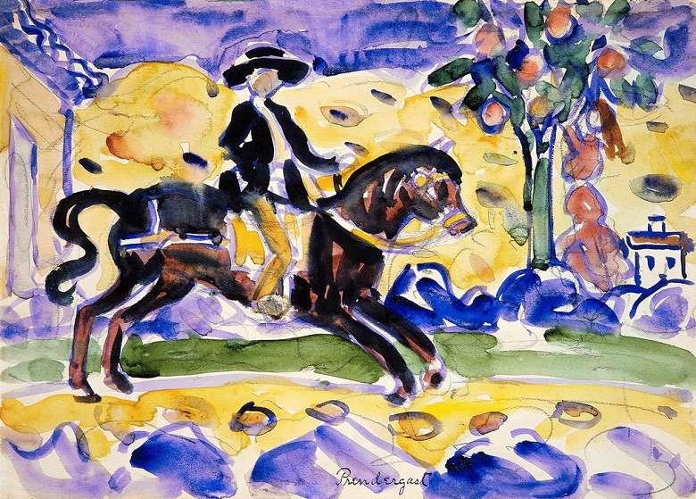 油絵 油彩画 絵画 複製画 モーリス・プレンダーガスト 乗馬 P10サイズ P10号 530x410mm すぐに飾れる豪華額縁付きキャンバス