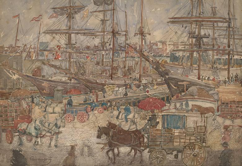 絵画 インテリア 額入り 壁掛け複製油絵 モーリス・プレンダーガスト 東ボストンの船渠 P20サイズ P20号 727x530mm 絵画 インテリア 額入り 壁掛け 油絵