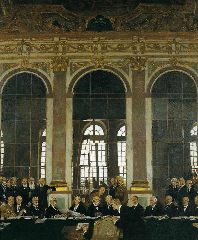 ウィリアム・オーペン ヴェルサイユ宮殿、鏡の間における講和条約調印、1919年6月28日 F30サイズ F30号 910x727mm 条件付き送料無料  額縁付絵画 インテリア 額入り 壁掛け複製油絵ウィリアム・オーペン