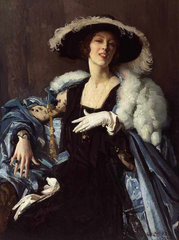 油絵 油彩画 絵画 複製画 ジョージ・ワシントン・ランバート 白い手袋 P10サイズ P10号 530x410mm すぐに飾れる豪華額縁付きキャンバス
