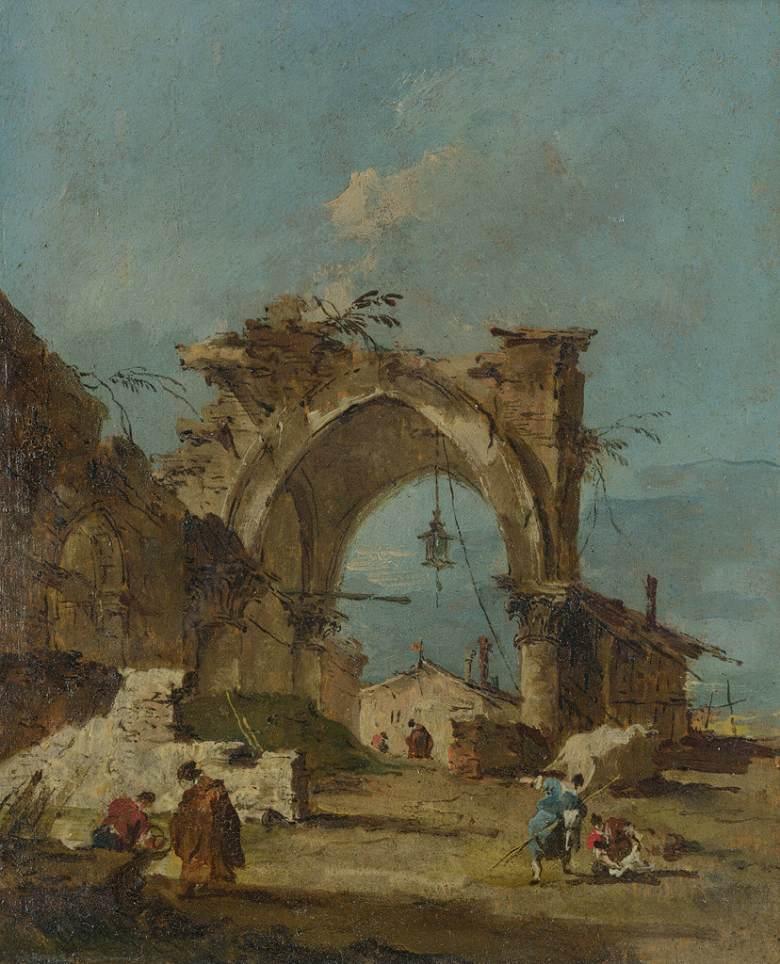 油絵 油彩画 絵画 複製画 フランチェスコ・グアルディ 門跡のある気ままな風景 F10サイズ F10号 530x455mm すぐに飾れる豪華額縁付きキャンバス