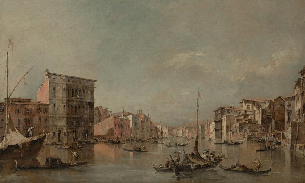【送料無料】絵画 油彩画複製油絵複製画/ フランチェスコ・グアルディ ヴェネツィアの大運河とベンボ宮 F15サイズ 808x686mm 【すぐに飾れる豪華額縁付 キャンバス】