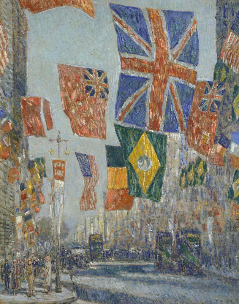【条件付き送料無料】絵画 油彩画複製油絵複製画/ フレデリック・チャイルド・ハッサム 同盟国の日の大通り、1918年のイギリス F30サイズ 1066x883mm 【条件付き送料無料  額縁付 キャンバス】