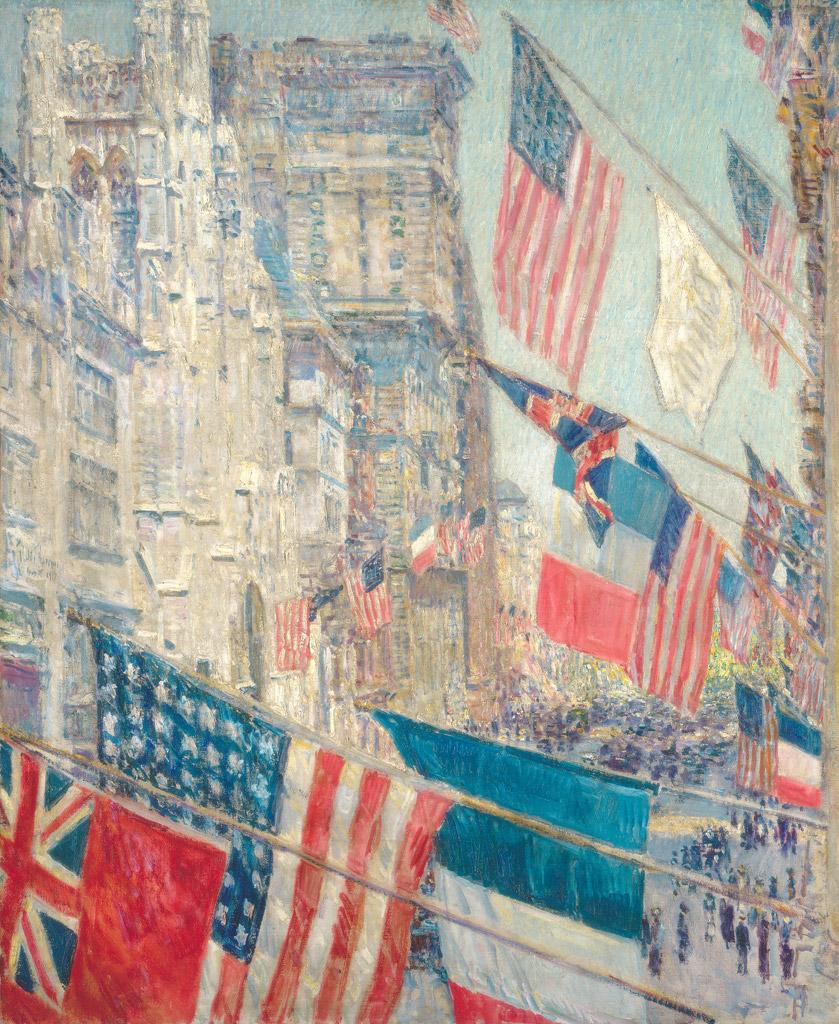【送料無料】絵画 油彩画複製油絵複製画/ フレデリック・チャイルド・ハッサム 1917年5月、同盟国の日 F10サイズ 686x611mm 【すぐに飾れる豪華額縁付 キャンバス】
