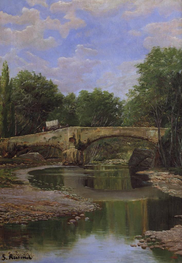 【条件付き送料無料】絵画 油彩画複製油絵複製画/サンティアゴ・ルシニョール 川に架かる橋 F30サイズ 1066x883mm 【すぐに飾れる豪華額縁付 キャンバス】