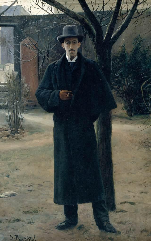 油絵 油彩画 絵画 複製画 サンティアゴ・ルシニョール ミゲル・ウトリリョの肖像 M10サイズ M10号 530x333mm すぐに飾れる豪華額縁付きキャンバス