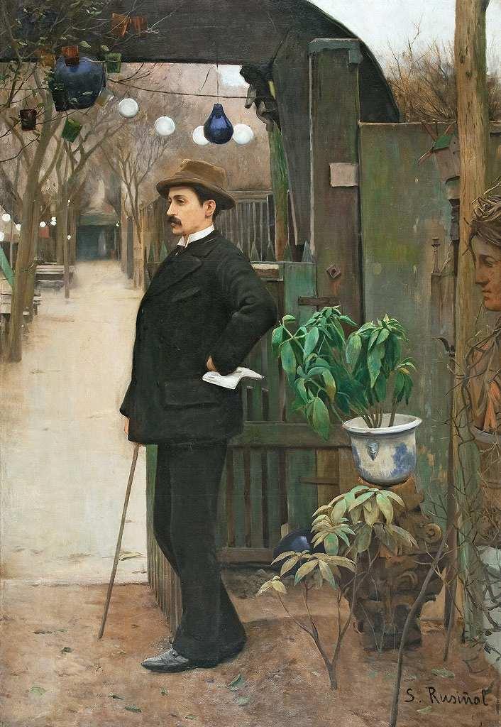 油絵 油彩画 絵画 複製画 サンティアゴ・ルシニョール ミゲル・ウトリリョの肖像 P10サイズ P10号 530x410mm すぐに飾れる豪華額縁付きキャンバス