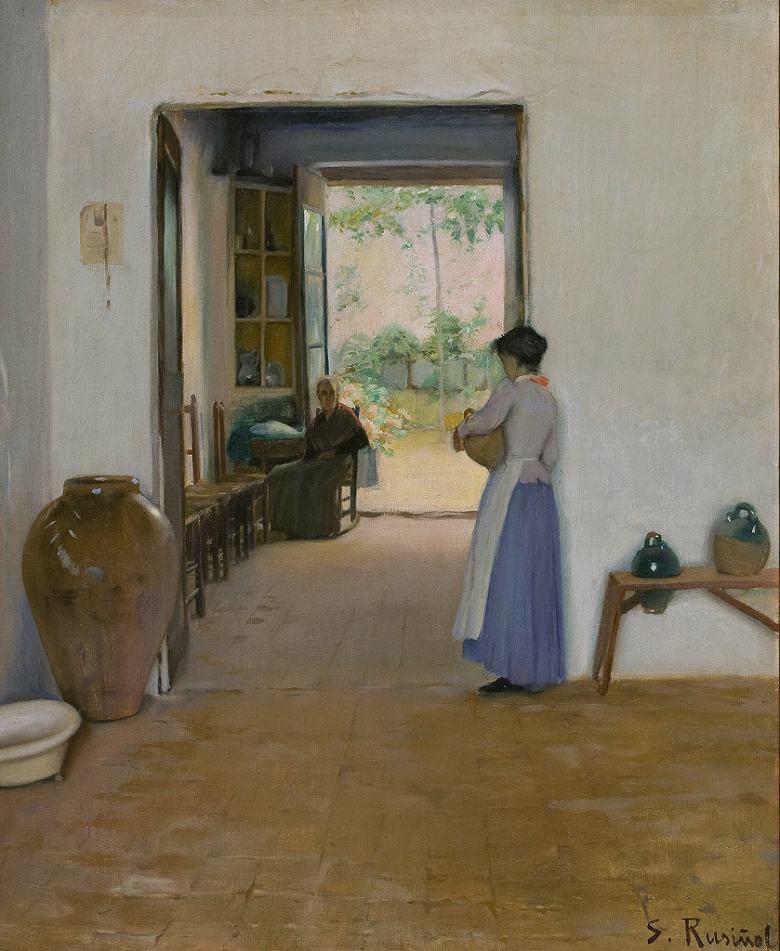 油絵 油彩画 絵画 複製画 サンティアゴ・ルシニョール シッチェスの室内 F10サイズ F10号 530x455mm すぐに飾れる豪華額縁付きキャンバス