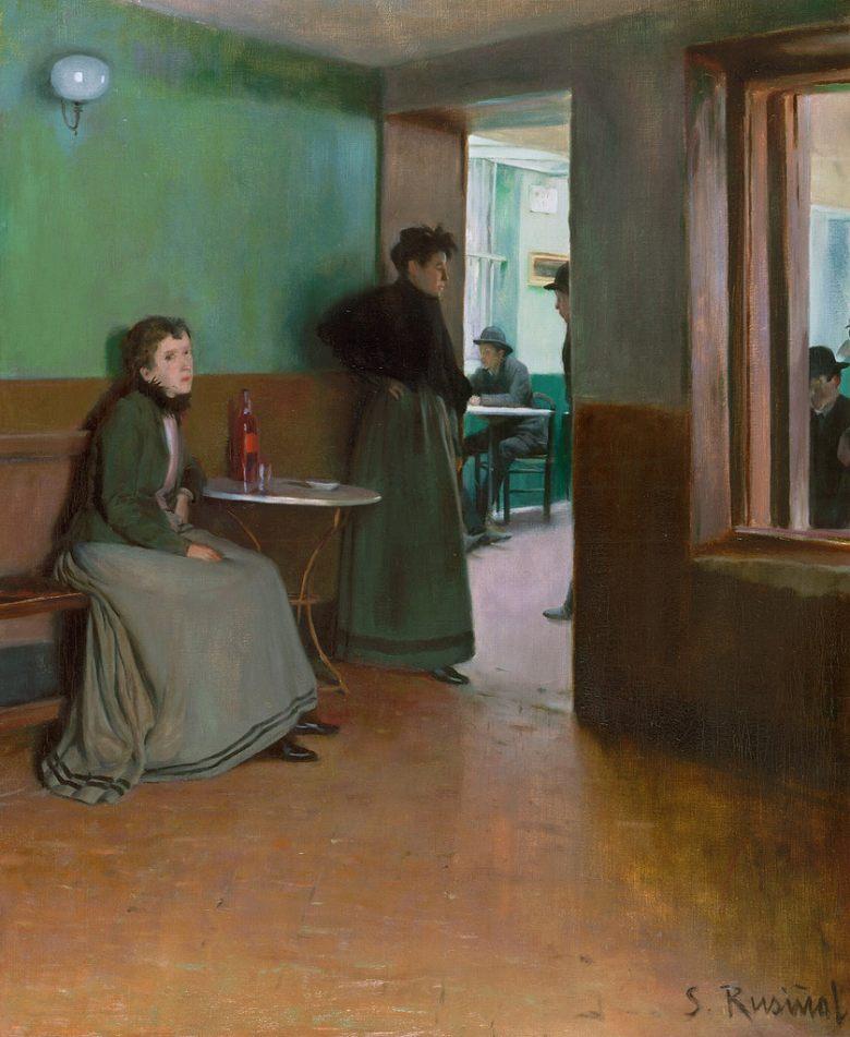 油絵 油彩画 絵画 複製画 サンティアゴ・ルシニョール カフェ F10サイズ F10号 530x455mm すぐに飾れる豪華額縁付きキャンバス