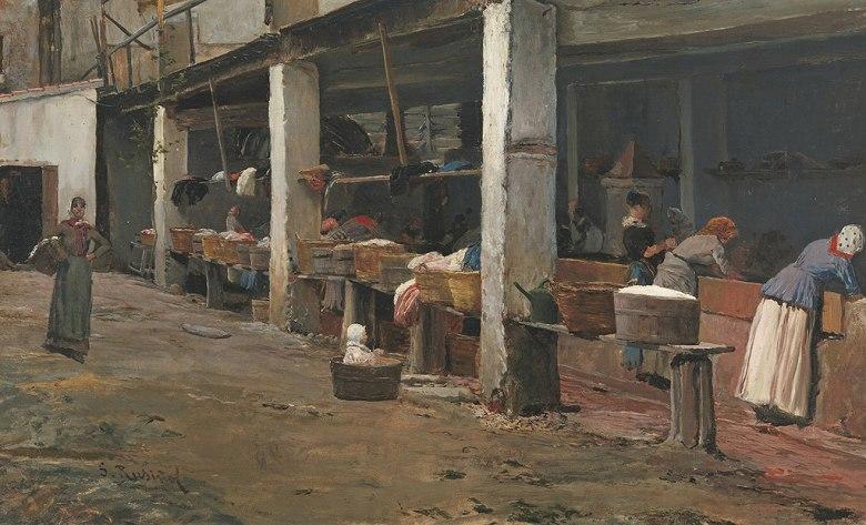 サンティアゴ・ルシニョール バルセロナの洗濯場 M30サイズ M30号 910x606mm 条件付き送料無料 絵画 インテリア 額入り 壁掛け複製油絵サンティアゴ・ルシニョール