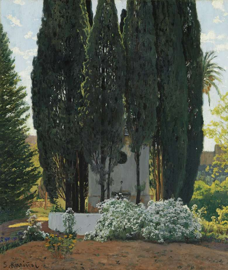 油絵 油彩画 絵画 複製画 サンティアゴ・ルシニョール 糸杉の泉 F10サイズ F10号 530x455mm すぐに飾れる豪華額縁付きキャンバス