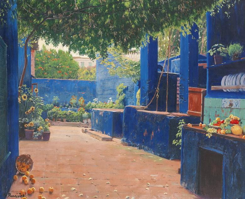 油絵 油彩画 絵画 複製画 サンティアゴ・ルシニョール アレニス・デ・ムントの青い中庭 F10サイズ F10号 530x455mm すぐに飾れる豪華額縁付きキャンバス