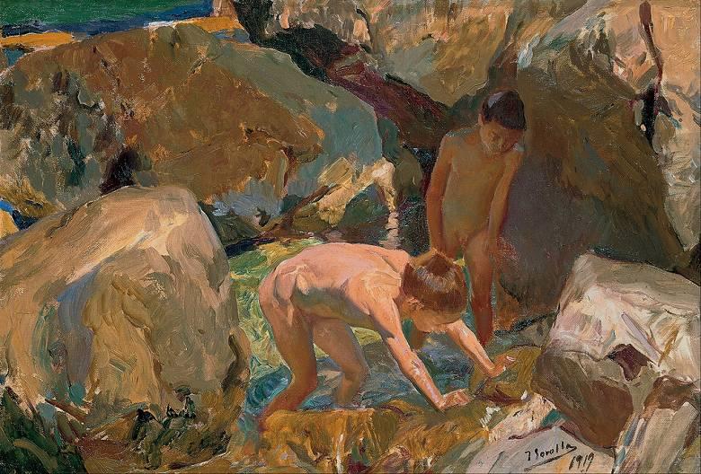 油絵 油彩画 絵画 複製画 ホアキン・ソローリャ 貝を探す子供たち P10サイズ P10号 530x410mm すぐに飾れる豪華額縁付きキャンバス