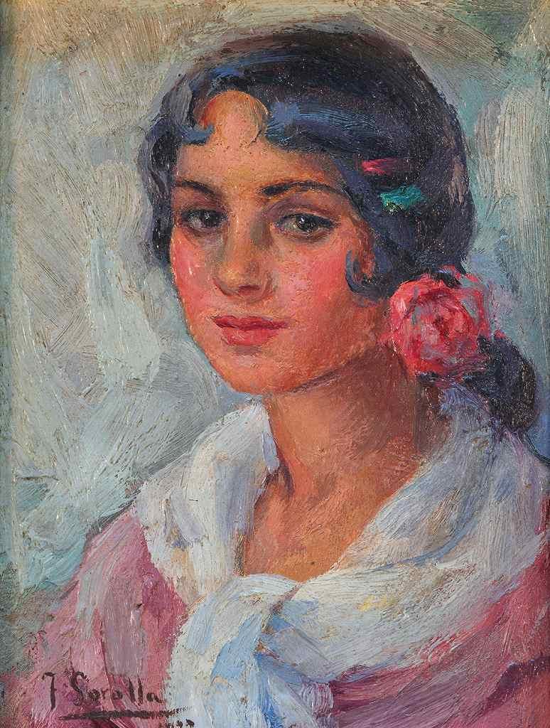 油絵 油彩画 絵画 複製画 ホアキン・ソローリャ 女性の肖像 P10サイズ P10号 530x410mm すぐに飾れる豪華額縁付きキャンバス