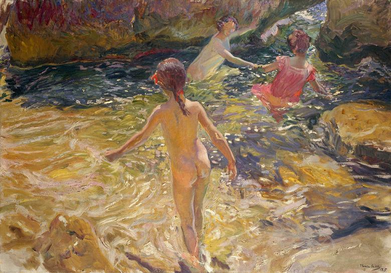 油絵 油彩画 絵画 複製画 ホアキン・ソローリャ ジャヴェアでの水浴 P10サイズ P10号 530x410mm すぐに飾れる豪華額縁付きキャンバス