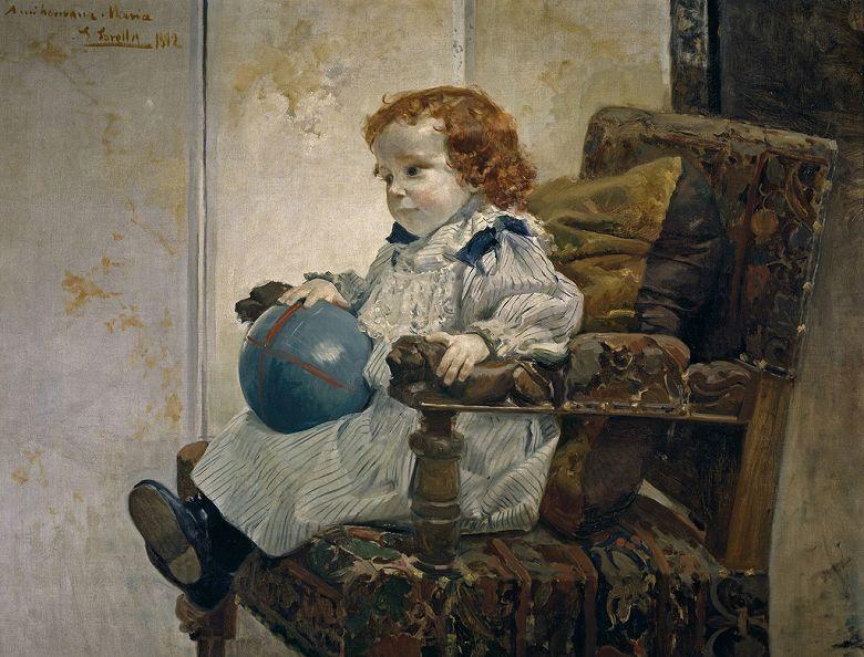 絵画 インテリア 額入り 壁掛け複製油絵 ホアキン・ソローリャ 子供の肖像 F15サイズ F15号 652x530mm 油彩画 複製画 選べる額縁 選べるサイズ