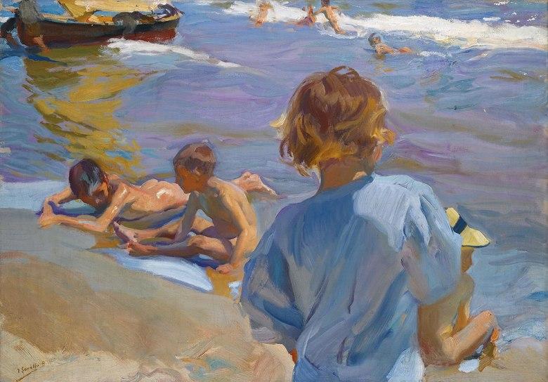 絵画 インテリア 額入り 壁掛け複製油絵 ホアキン・ソローリャ バレンシアの浜辺の子供たち P15サイズ P15号 652x500mm 油彩画 複製画 選べる額縁 選べるサイズ