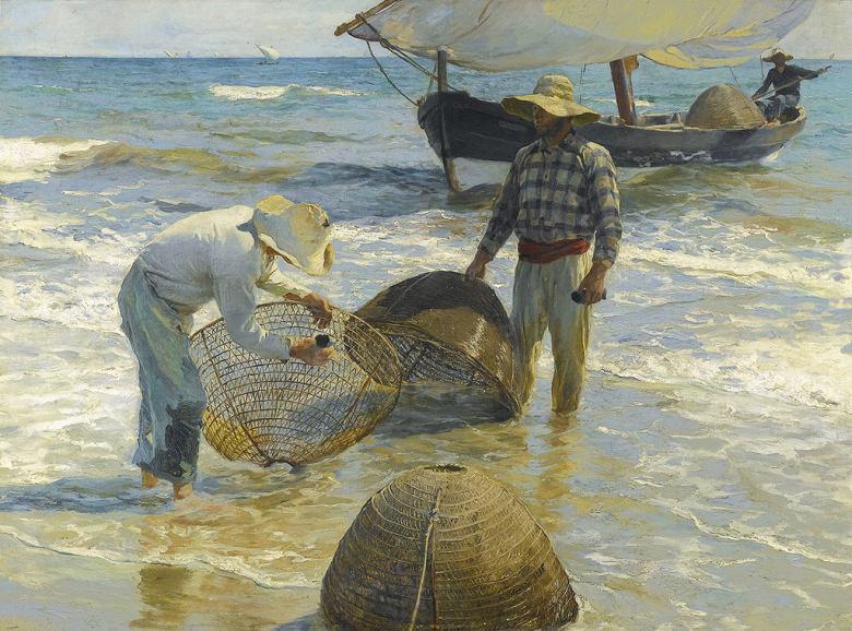 絵画 インテリア 額入り 壁掛け複製油絵 ホアキン・ソローリャ バレンシアの漁師 P15サイズ P15号 652x500mm 油彩画 複製画 選べる額縁 選べるサイズ