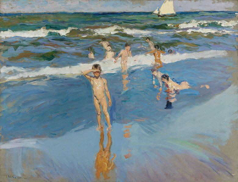 絵画 インテリア 額入り 壁掛け複製油絵 ホアキン・ソローリャ バレンシアの浜辺の子供たち F15サイズ F15号 652x530mm 油彩画 複製画 選べる額縁 選べるサイズ