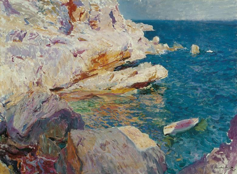 ホアキン・ソローリャ ハベアの岩と白いボート P30サイズ P30号 910x653mm 条件付き送料無料 絵画 インテリア 額入り 壁掛け複製油絵 ホアキン・ソローリャ