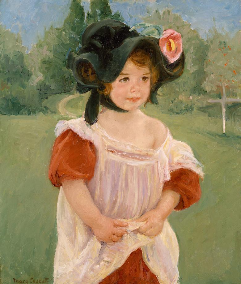 絵画 インテリア 額入り 壁掛け複製油絵 メアリー・カサット 春、庭に立つマーゴー F15サイズ F15号 652x530mm 油彩画 複製画 選べる額縁 選べるサイズ