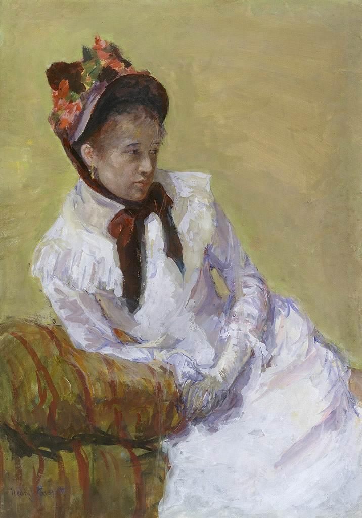 油絵 油彩画 絵画 複製画 メアリー・カサット 自画像 P10サイズ P10号 530x410mm すぐに飾れる豪華額縁付きキャンバス