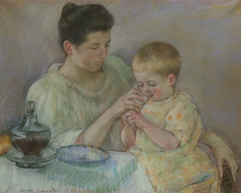 絵画 インテリア 額入り 壁掛け複製油絵 メアリー・カサット 子供の食事の世話をする母親 F15サイズ F15号 652x530mm 油彩画 複製画 選べる額縁 選べるサイズ