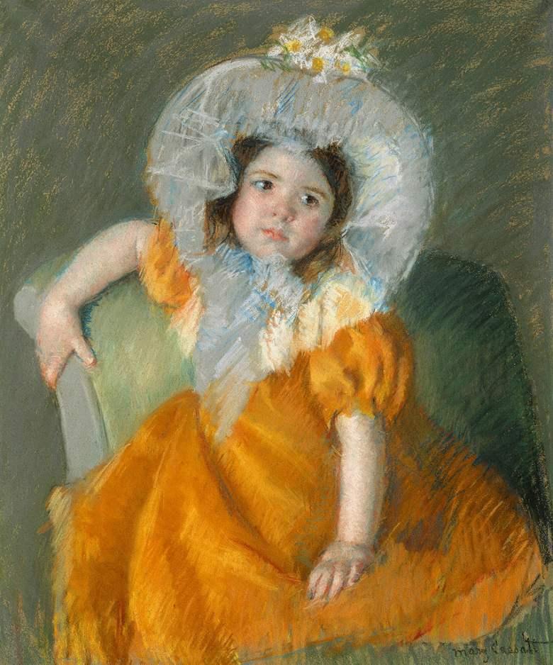 絵画 インテリア 額入り 壁掛け複製油絵 メアリー・カサット オレンジ色のドレスを着たマーゴー F20サイズ F20号 727x606mm 絵画 インテリア 額入り 壁掛け 油絵
