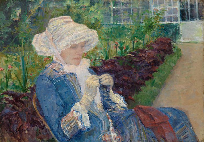 絵画 インテリア 額入り 壁掛け複製油絵 メアリー・カサット マルリーの庭でかぎ針編みをするリディア P20サイズ P20号 727x530mm 絵画 インテリア 額入り 壁掛け 油絵
