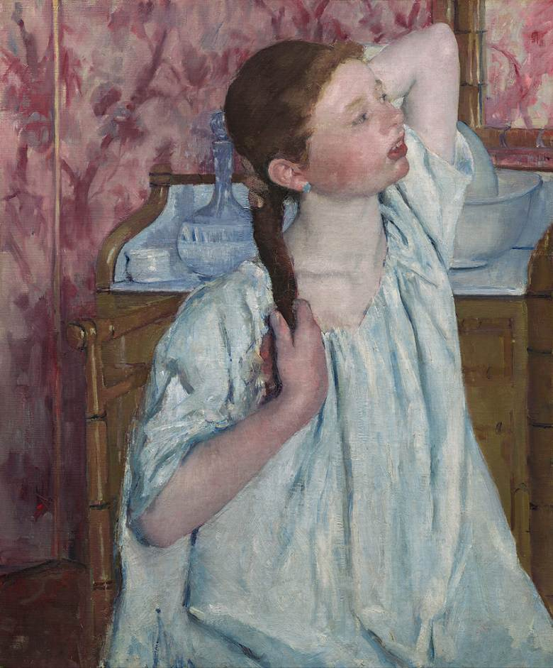 絵画 インテリア 額入り 壁掛け複製油絵 メアリー・カサット 髪をそろえる少女 F15サイズ F15号 652x530mm 油彩画 複製画 選べる額縁 選べるサイズ
