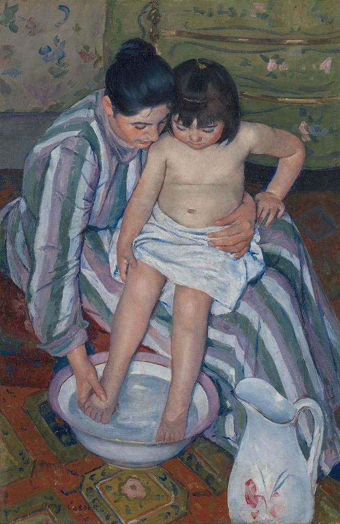 絵画 インテリア 額入り 壁掛け複製油絵 メアリー・カサット 子供の入浴 M20サイズ M20号 727x500mm 絵画 インテリア 額入り 壁掛け 油絵