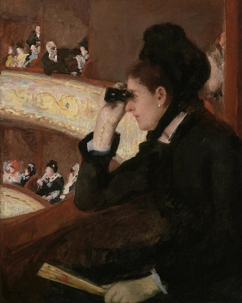 油絵 油彩画 絵画 複製画 メアリー・カサット オペラ座の黒衣の女(オペラ座にて) F10サイズ F10号 530x455mm すぐに飾れる豪華額縁付きキャンバス