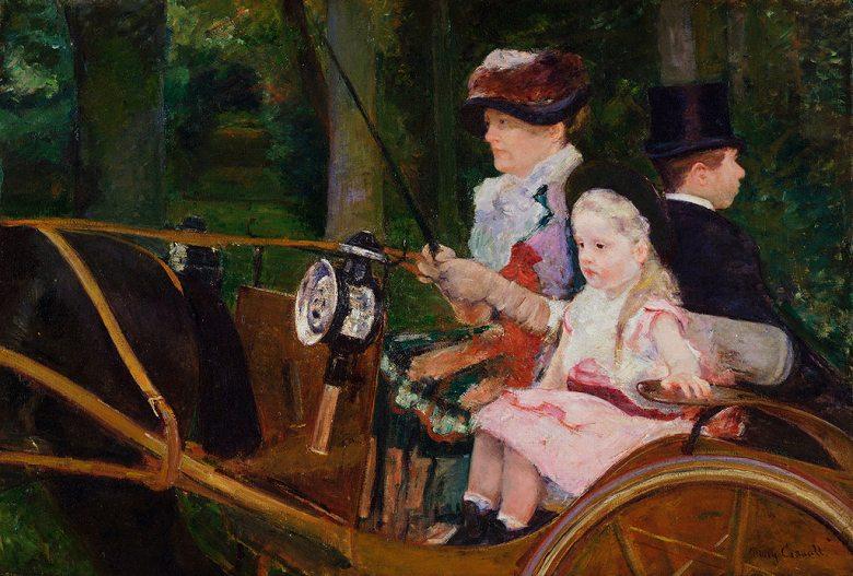 絵画 インテリア 額入り 壁掛け複製油絵 メアリー・カサット 馬車に乗る女性と少女 P15サイズ P15号 652x500mm 油彩画 複製画 選べる額縁 選べるサイズ