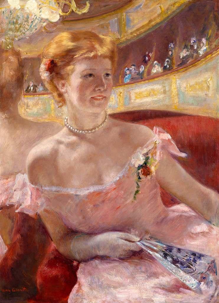 メアリー・カサット 劇場の特別席で真珠のネックレスをした女性 P30サイズ P30号 910x653mm 条件付き送料無料 絵画 インテリア 額入り 壁掛け複製油絵 メアリー・カサット