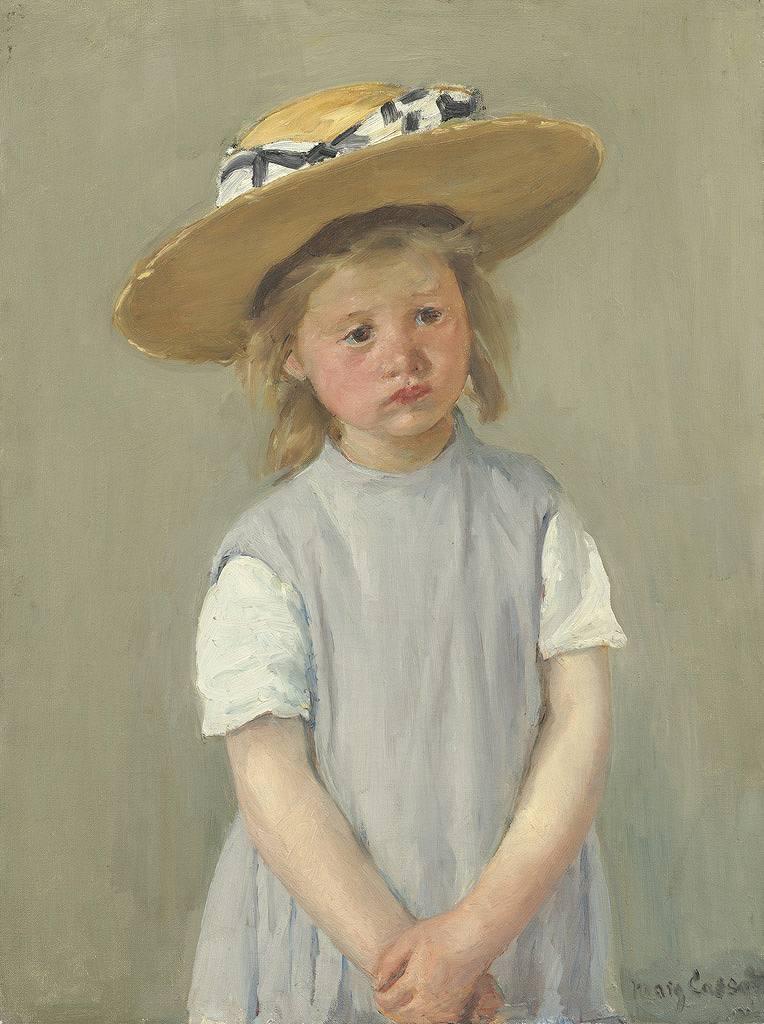 油絵 油彩画 絵画 複製画 メアリー・カサット 麦藁帽子の子供 P10サイズ P10号 530x410mm すぐに飾れる豪華額縁付きキャンバス