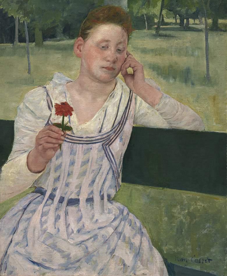 油絵 油彩画 絵画 複製画 メアリー・カサット 赤いジニアと女性 F10サイズ F10号 530x455mm すぐに飾れる豪華額縁付きキャンバス