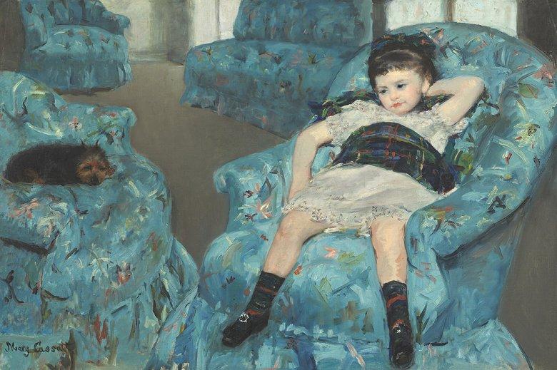 絵画 インテリア 額入り 壁掛け複製油絵 メアリー・カサット 青い肘掛け椅子の上の少女 M15サイズ M15号 652x455mm 油彩画 複製画 選べる額縁 選べるサイズ