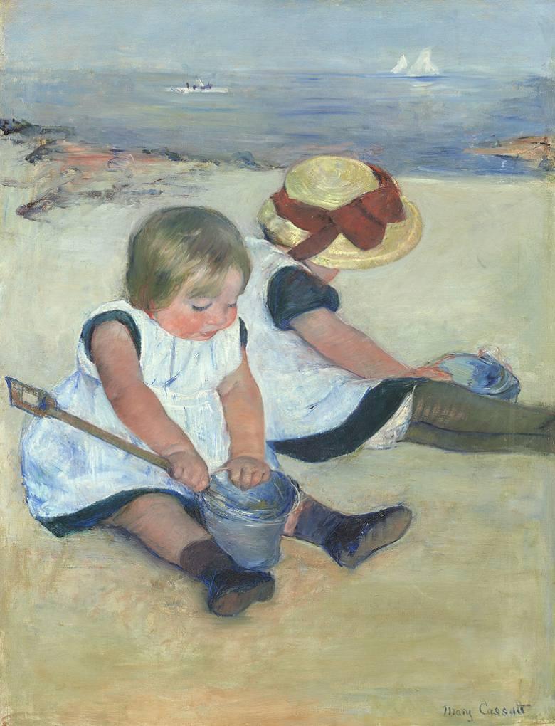 メアリー・カサット 浜辺で遊ぶ子供たち F30サイズ F30号 910x727mm 条件付き送料無料  額縁付絵画 インテリア 額入り 壁掛け複製油絵 メアリー・カサット