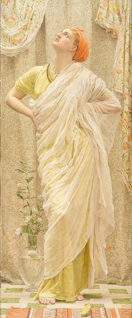 油絵 油彩画 絵画 複製画 アルバート・ジョゼフ・ムーア カナリア F10サイズ F10号 530x455mm すぐに飾れる豪華額縁付きキャンバス