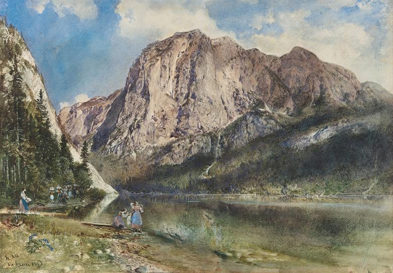絵画 インテリア 額入り 壁掛け複製油絵 ルドルフ・フォン・アルト アルタウッゼーの湖と山 P20サイズ P20号 727x530mm 絵画 インテリア 額入り 壁掛け 油絵
